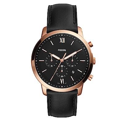 FOSSIL 洞察趨勢三眼時尚皮革腕錶(FS5381)-黑x44mm
