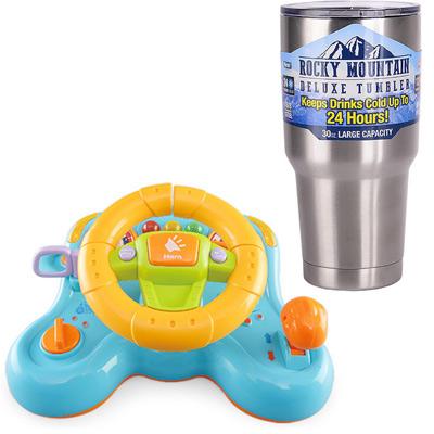 《Steering Wheel》多變把手震動音樂燈光方向盤+冰霸杯組