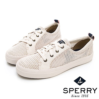 SPERRY 個性網格輕量休閒鞋-(女)-白色