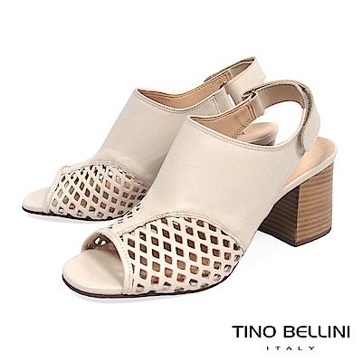 Tino Bellini 巴西進口摩登網狀魚口高跟涼鞋_ 杏
