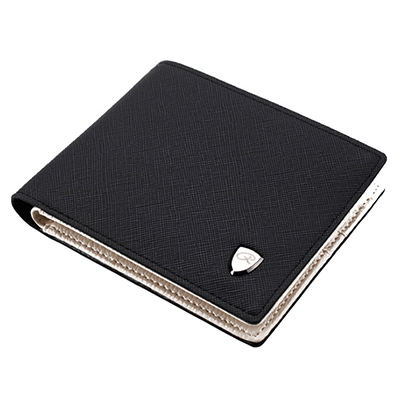 A+ accessories 商務型十字紋拉鍊零錢好用短夾(2色任選)