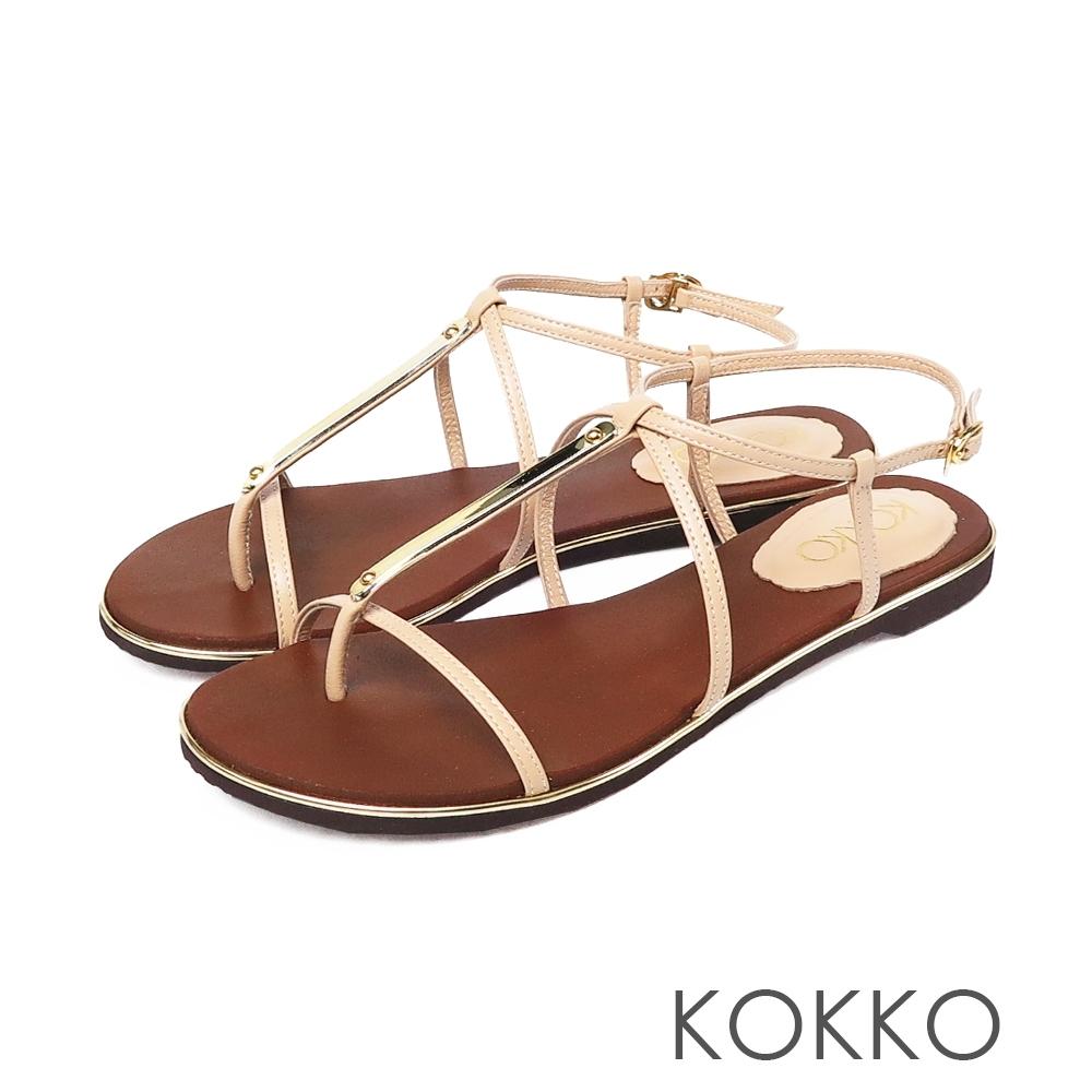KOKKO優美線條細帶平底牛皮涼鞋淡奶茶