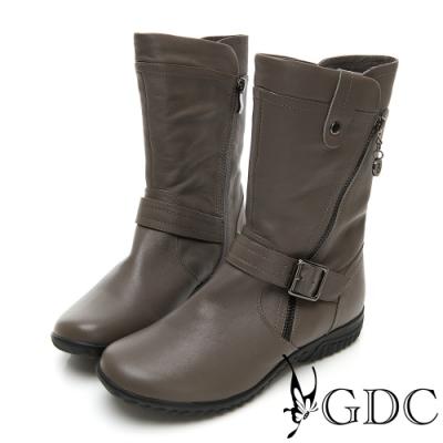 GDC-熱銷側拉鍊真皮超舒適底台中筒靴-灰色