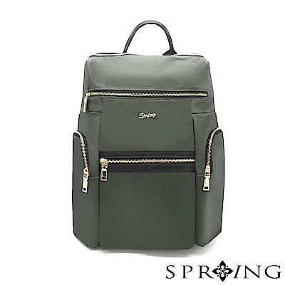SPRING-微光澤輕量旅行後背包-經典軍綠