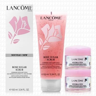 LANCOME蘭蔻 溫和去角質玫瑰凝膠100ml(贈保濕霜15mlx2)