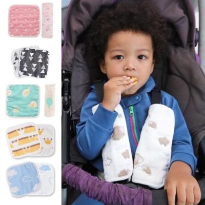 Baby童衣 6層紗布嬰兒推車安全帶純棉口水巾 兩入組 60332