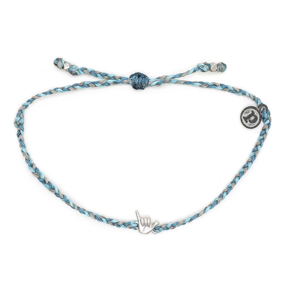 Pura Vida 美國手工 銀色沙卡小手 灰藍色系臘線衝浪手鍊手環