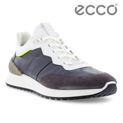 ECCO ASTIR 雅躍拼接皮革運動休閒鞋 男鞋 岩紫灰/磁石灰/亮白色