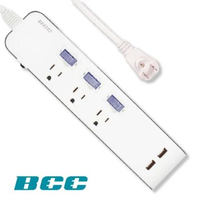 BCC FC903 3切3插2USB延長線
