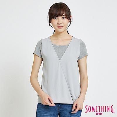 SOMETHING 優雅雪紡拼接 短袖T恤-女-麻灰