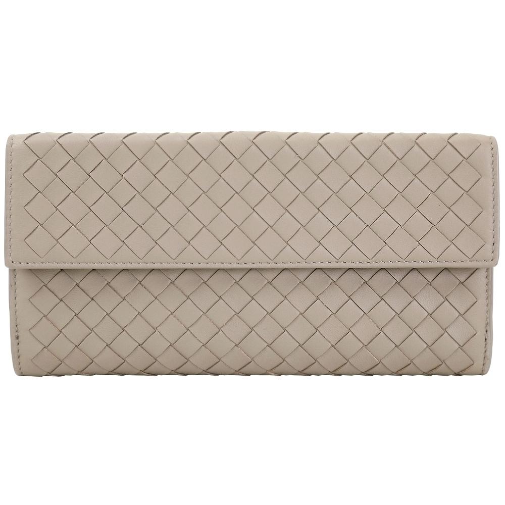 BOTTEGA VENETA 經典小羊皮手工編織釦式長夾(棕灰色)