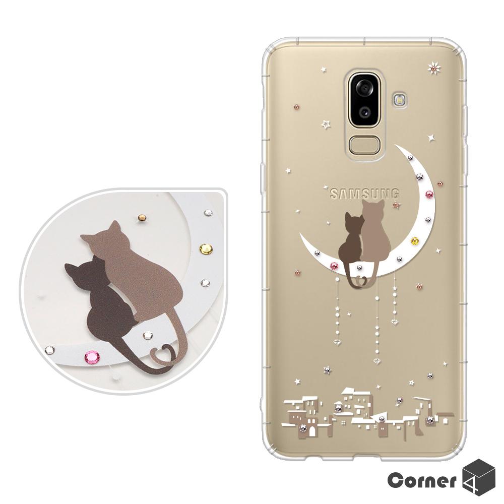Corner4 Samsung Galaxy J8 奧地利彩鑽防摔手機殼-相愛貓咪