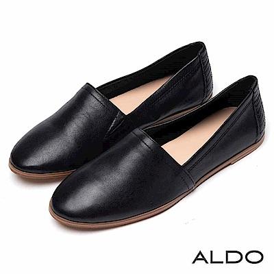 ALDO 原色牛皮鞋面幾何車線平底鞋~尊爵黑色