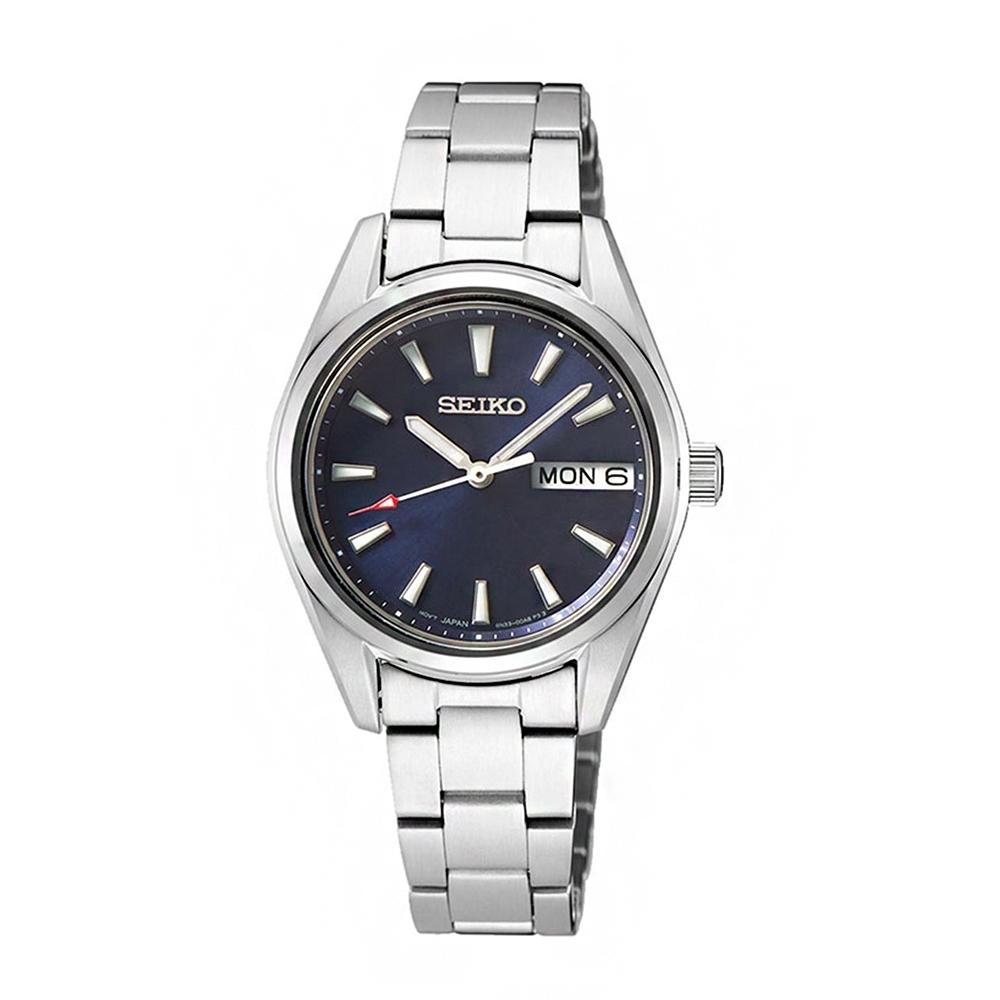 SEIKO 時尚鋼帶藍寶石水晶鏡面女錶-SUR353P1