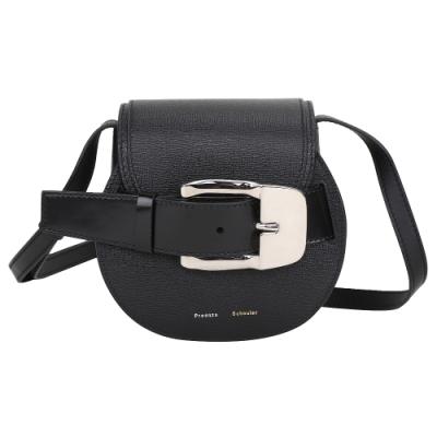 PROENZA SCHOULER PS1 Buckle Mini 釦帶造型壓紋小牛皮肩/斜背包(黑色)