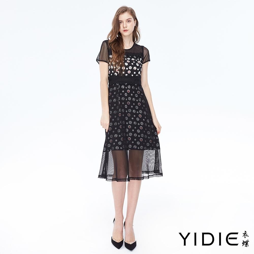 YIDIE衣蝶 性感紅脣印花網紗洋裝