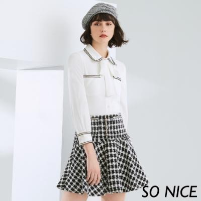 SO NICE小香風粗花呢格紋短裙