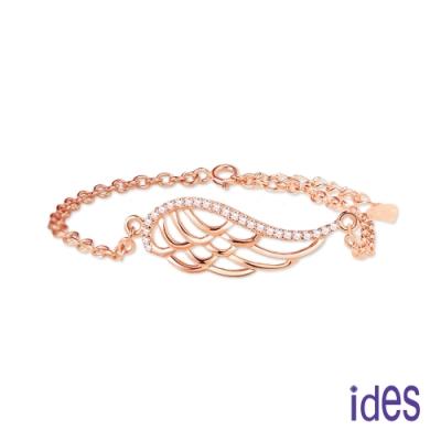 ides愛蒂思 日韓時尚設計純銀晶鑽手鍊/天使羽毛