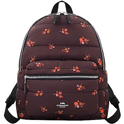 COACH 酒紅色花朵圖樣輕量尼龍後背包-大型