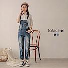 東京著衣 休閒百搭口袋刷破吊帶褲-S.M.L.XL(共二色)