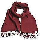 Aquascutum 義大利製100%喀什米爾經典品牌LOGO刺繡圍巾(酒紅)