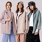 OUWEY歐薇 仿貂絨質感雙排扣造型大衣外套(米/粉/藍)