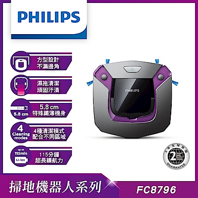 PHILIPS飛利浦智慧二合一掃地機器人(5.8公分超薄+濕拖功能)FC8796