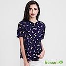 bossini女裝-無領短袖印花襯衫03海軍藍