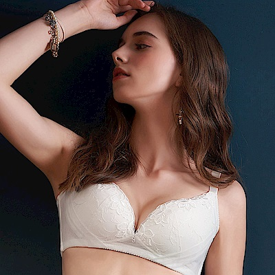 U&Z EASY SHOP-奢華寵愛 無鋼圈A-E罩成套內衣(珍珠白)