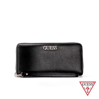 GUESS-女夾-簡約時尚金屬LOGO長夾-黑