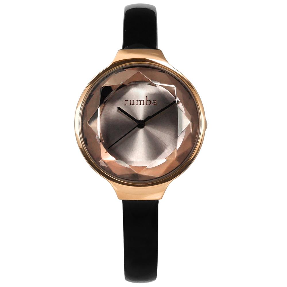 rumba time 紐約品牌 切割玻璃鏡面 真皮手錶-灰x玫瑰金框x黑/30mm