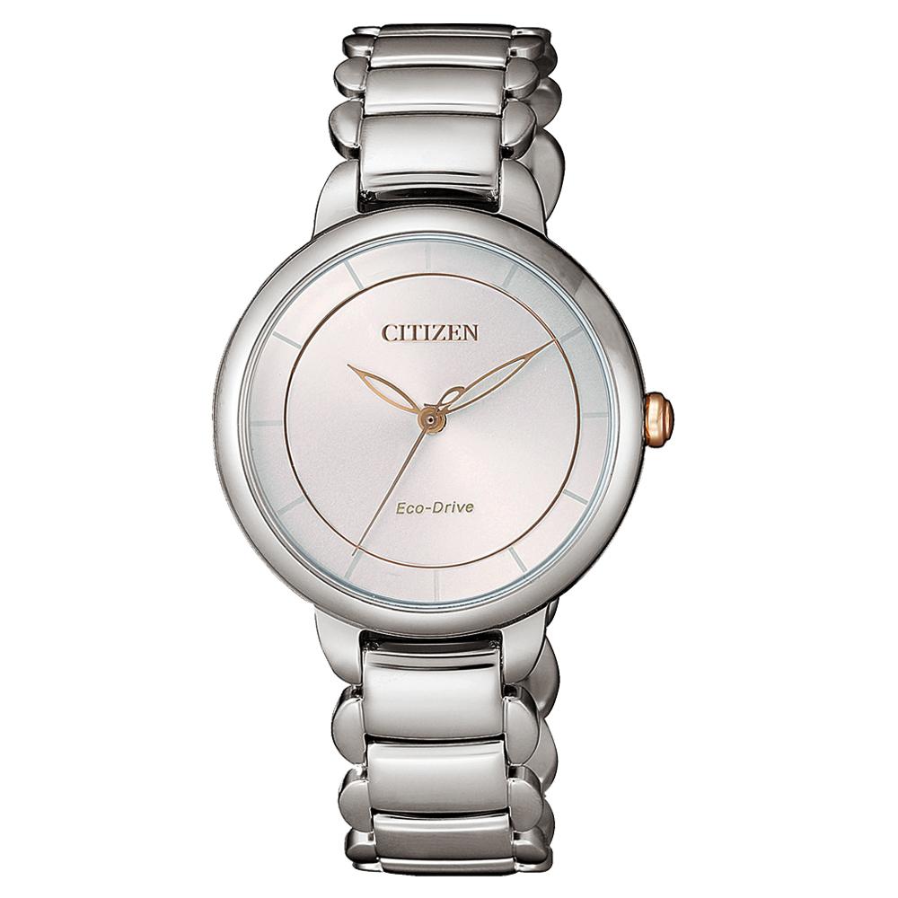 CITIZEN L 光動能時光螺旋女錶(EM0676-85X)-銀