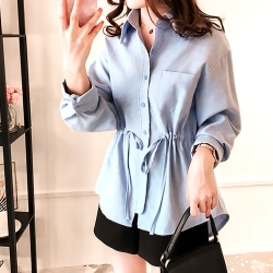 Lockers 木櫃 韓風寬鬆系帶收腰長袖襯衫-2色