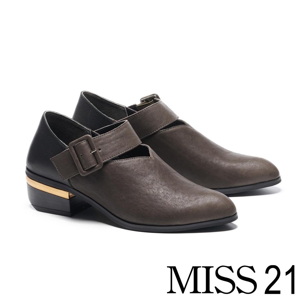 低跟鞋 MISS 21 復古感拼接寬釦帶造型牛皮低跟鞋-灰