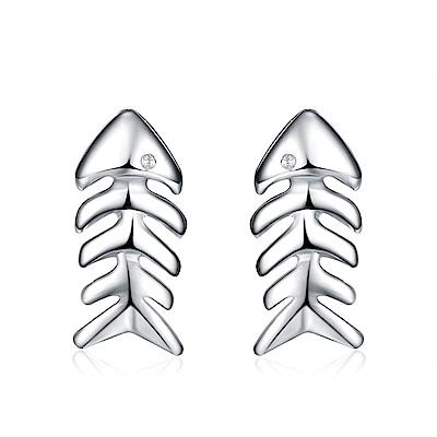米蘭精品 925純銀耳環-鑲鑽可愛魚骨頭耳環
