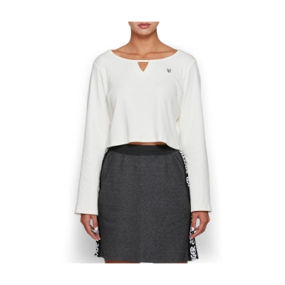 ASICS 長袖短版上衣 女 2192A031-100 (白)
