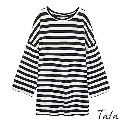 長版條紋寬袖上衣 TATA