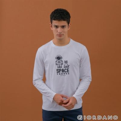 GIORDANO   男裝8Bit像素印花T恤 - 01 標誌白