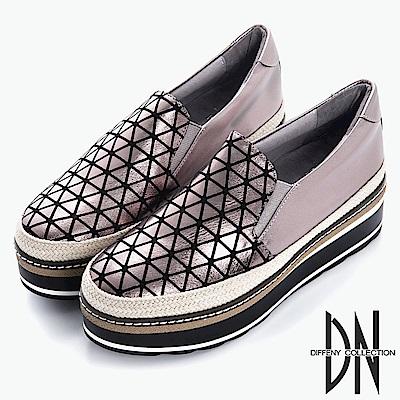 DN 搖滾元素 幾何金屬拼接草編厚底鞋-銀