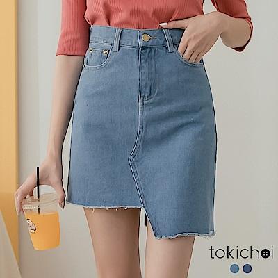 東京著衣 休閒百搭不規則剪裁顯瘦A字牛仔短裙 S.M.L(共兩色)