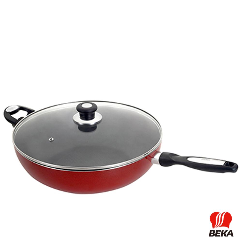 BEKA貝卡Pro Induc Metallic茵杜克閃耀紅鍋單柄附耳附蓋炒鍋32cm