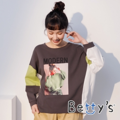 betty's貝蒂思 人像印花拼接造型T-shirt(綠袖子)