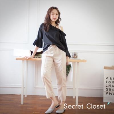 Secret Closet-舒適雪紡前開岔長褲-卡其
