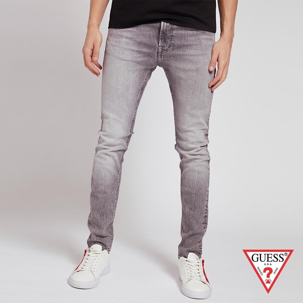 GUESS-男裝-水洗刷色仿舊合身直筒牛仔褲-灰 原價2990