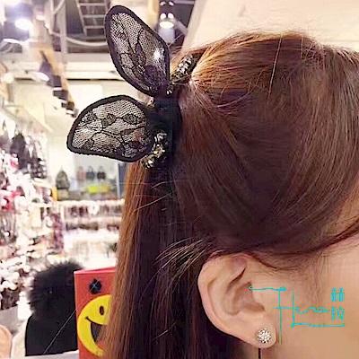 Hera赫拉 日韓蕾絲水鑽兔耳朵髮飾