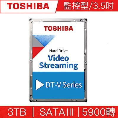 TOSHIBA東芝 3TB 3.5吋 SATAIII 5900轉監控型硬碟(DT01ABA300V)