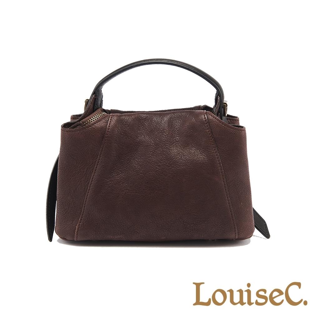 【LouiseC.】植鞣革牛皮立體典雅小手提包-咖啡色 (WI190101-03)