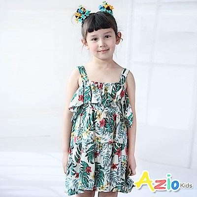 Azio Kids  洋裝 滿版花朵葉子荷葉平口露肩洋裝(綠)
