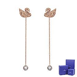 SWAROVSKI 施華洛世奇 璀璨水晶天鵝造型玫瑰金垂墜耳環