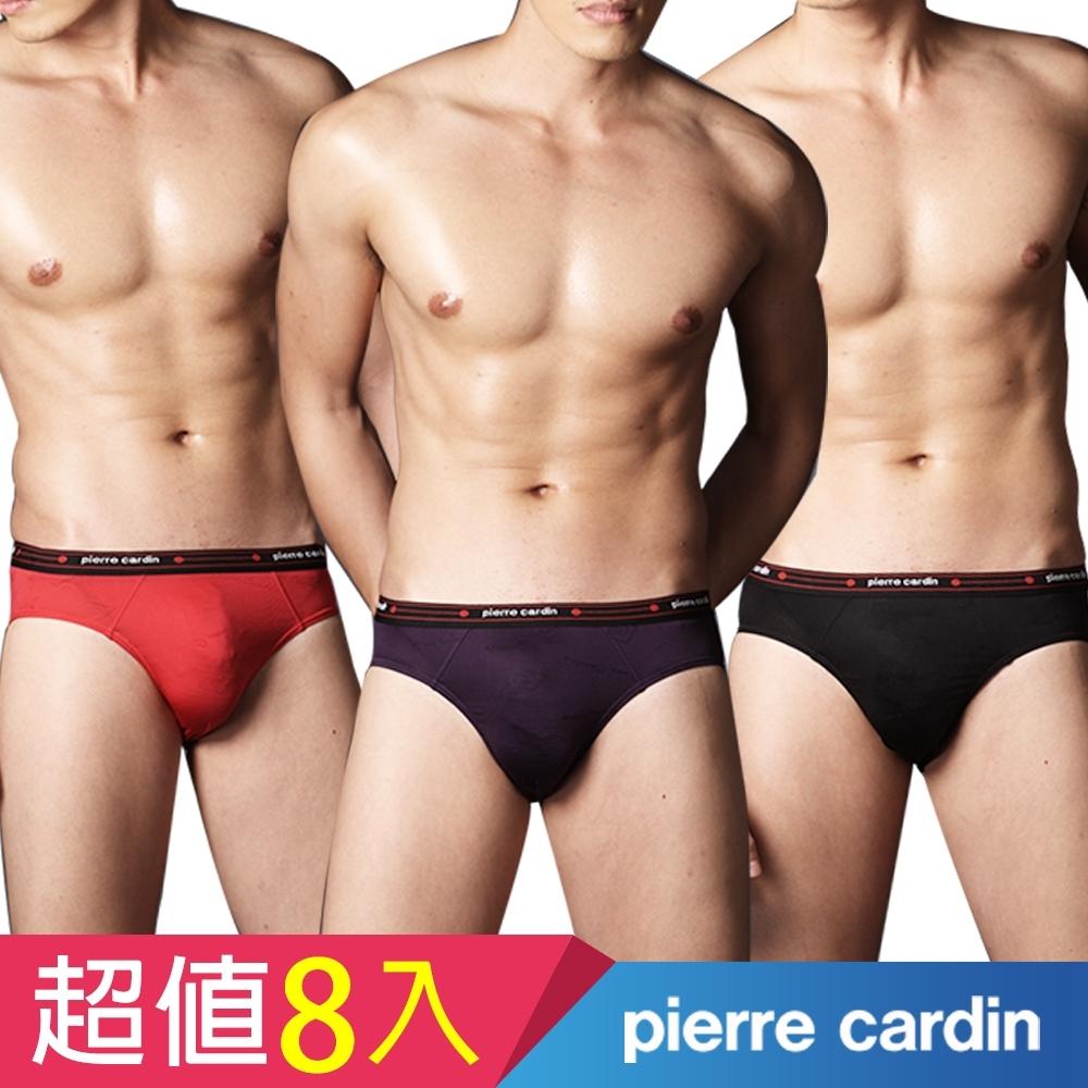 [時時樂限定]Pierre Cardin 皮爾卡登 台灣製萊卡提花三角褲(8件組)